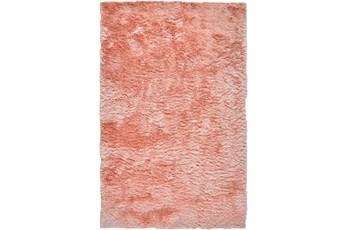 96 Inch Round Rug-Shag Luxe Sheen Blush