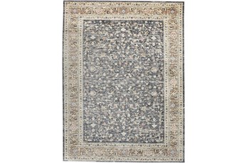 94X126 Rug-Traditional Border Charcoal/Beige