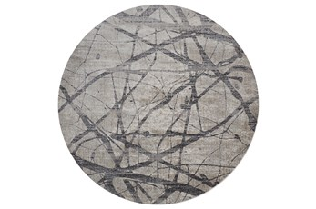105 Inch Round Rug-Natural Abstract Charcoal/Grey