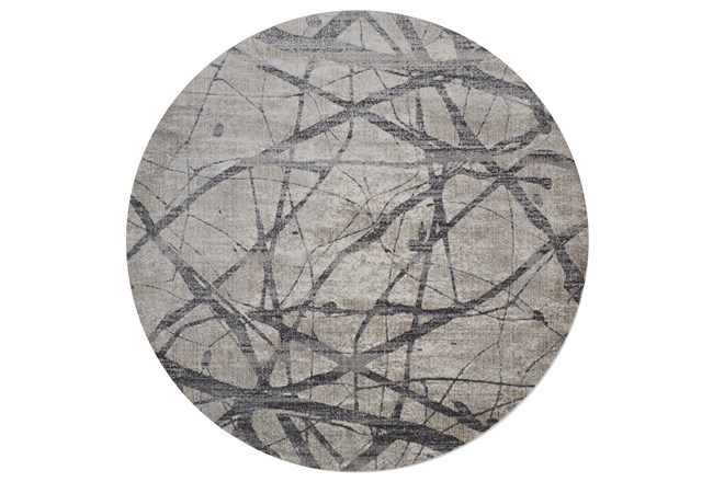 105 Inch Round Rug-Natural Abstract Charcoal/Grey - 360