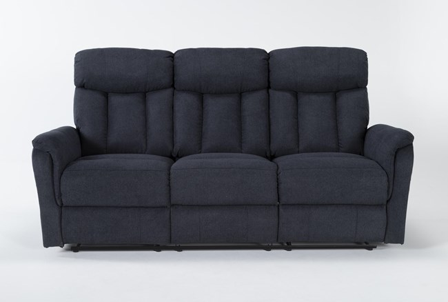 "Suzy II Blue 80"" Reclining Sofa - 360"