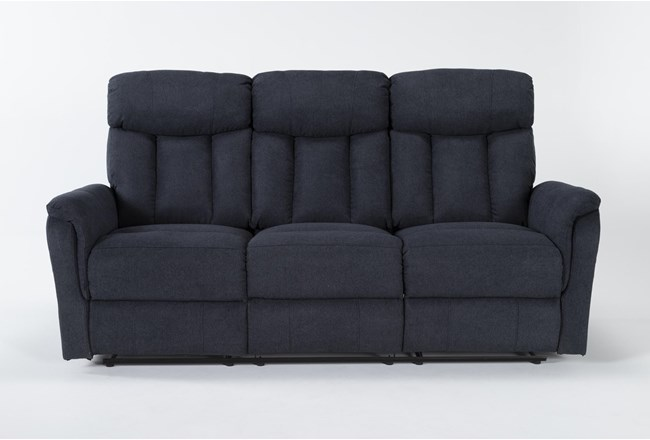 "Suzy II Blue 80"" Reclining Sofa - 360"