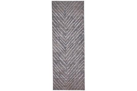 34X94 Rug-Broken Chevron Silver/Grey