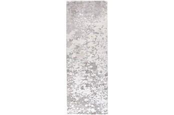 34X94 Rug-Silver Metallic Abstract