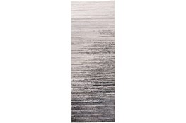 34X94 Rug-Silver Metallic And Black Horizontal Ombre