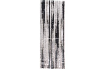 34X94 Rug-Silver Metallic And Black Vertical Lines