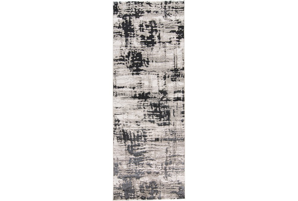 34X94 Rug-Silver Metallic And Black Abstract Grid