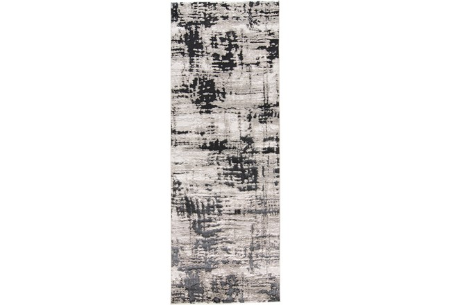 34X94 Rug-Silver Metallic And Black Abstract Grid - 360