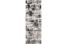 "2'8""x7'8"" Rug-Silver Metallic And Black Abstract Grid"