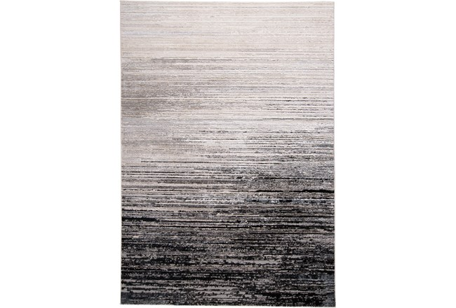 60X96 Rug-Silver Metallic And Black Horizontal Ombre - 360
