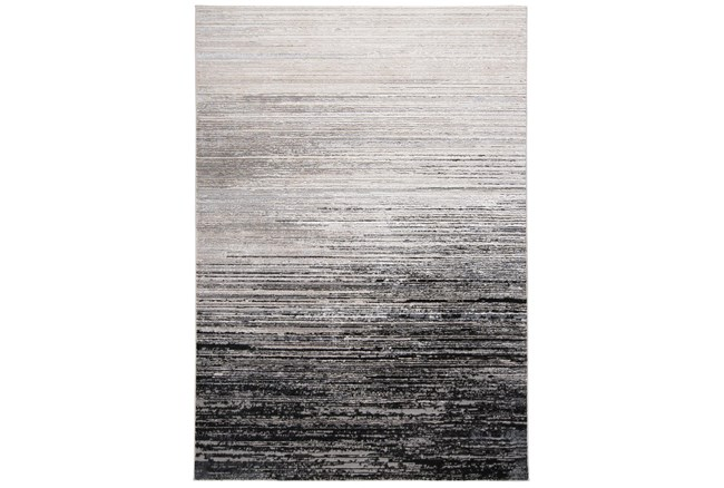 5'x8' Rug-Silver Metallic And Black Horizontal Ombre - 360