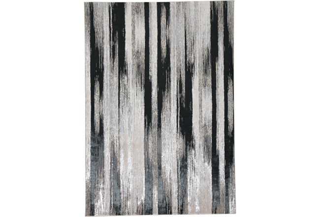 60X96 Rug-Silver Metallic And Black Vertical Lines - 360