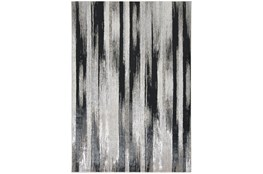 5'x8' Rug-Silver Metallic And Black Vertical Lines