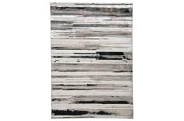 60X96 Rug-Silver Metallic And Black Horizontal Lines