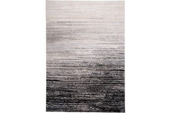 96X132 Rug-Silver Metallic And Black Horizontal Ombre