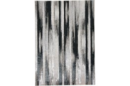8'x11' Rug-Silver Metallic And Black Vertical Lines