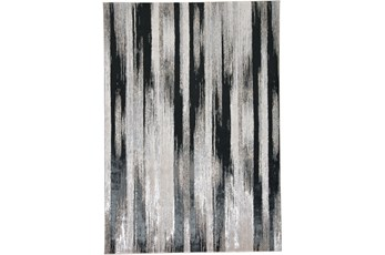 96X132 Rug-Silver Metallic And Black Vertical Lines