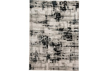 96X132 Rug-Silver Metallic And Black Abstract Grid