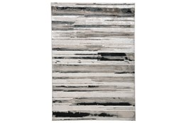 8'x11' Rug-Silver Metallic And Black Horizontal Lines