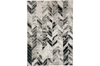 96X132 Rug-Silver Metallic And Black Chevron