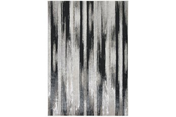 """10'x13'1"""" Rug-Silver Metallic And Black Vertical Lines"""