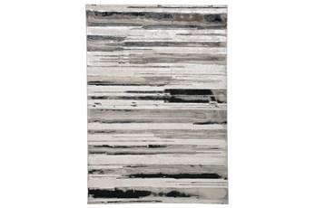 120X158 Rug-Silver Metallic And Black Horizontal Lines