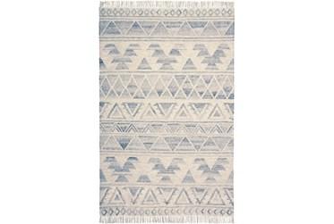 5'x8' Rug-Boho Flatweave Light Blue/Ivory