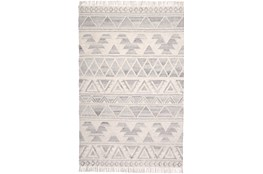 96X120 Rug-Boho Flatweave Light Blue/Ivory