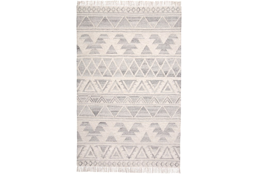 120X168 Rug-Boho Flatweave Light Blue/Ivory