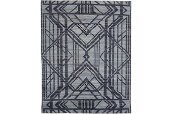 120X168 Rug-Art Deco Hand Knotted Grey/Blue