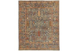 93X117 Rug-Gramoy Hand Knotted Blue/Rust