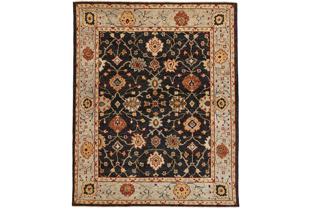 93X117 Rug-Gramoy Hand Knotted Charcoal/Light Blue