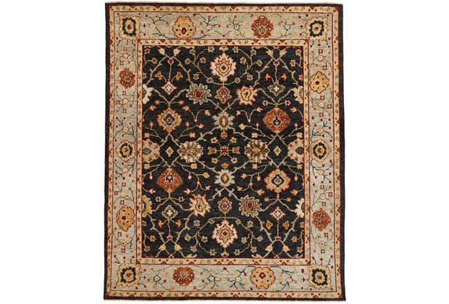 93X117 Rug-Gramoy Hand Knotted Charcoal/Light Blue - 360