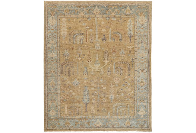 93X117 Rug-Gramoy Hand Knotted Gold/Light Blue - 360