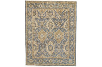 114X162 Rug-Gramoy Hand Knotted Light Blue/Beige