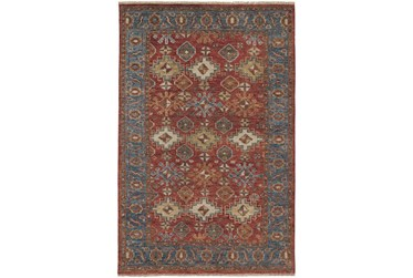 """3'5""""x5'5"""" Rug-Gramoy Hand Knotted Orange/Blue"""
