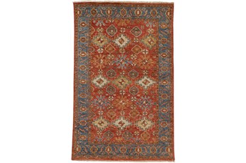 102X138 Rug-Gramoy Hand Knotted Orange/Blue