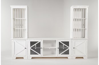 "Sinclair II White 118"" 3 Piece Entertainment Center With Glass Doors"