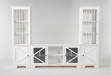"""Sinclair II White 118"""" 3 Piece Entertainment Center With Glass Doors"""