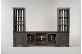 "Sinclair II Grey 118"" 3 Piece Entertainment Center With Glass Doors"