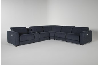 "Chanel Denim 6 Piece 132"" Power Reclining Sectional"