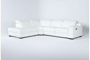 "Hana White Leather 3 Piece 113"" Power Reclining Sectional With Left Arm Facing Chaise"