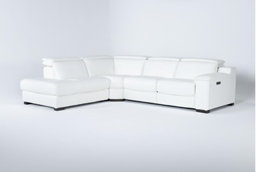 """Hana White Leather 3 Piece 113"""" Power Reclining Sectional With Left Arm Facing Chaise"""