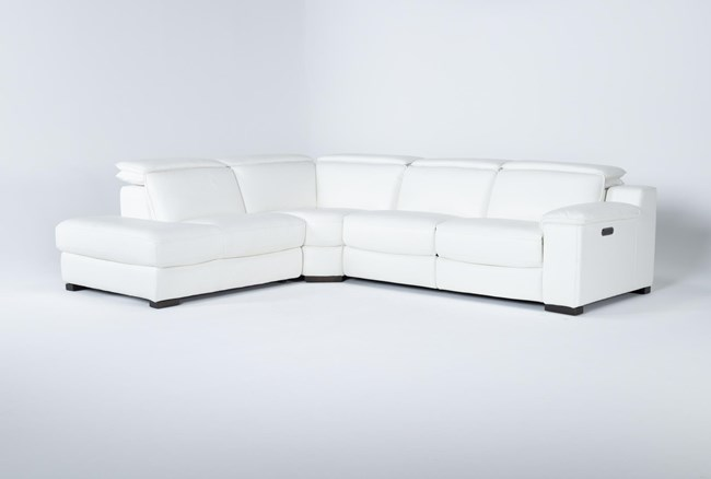 """Hana White Leather 3 Piece 113"""" Power Reclining Sectional With Left Arm Facing Chaise - 360"""