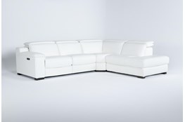 Hana White Leather 3 Piece Power Reclining Sectional With Right Arm Facing Chaise