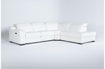 "Hana White Leather 3 Piece 113"" Power Reclining Sectional With Right Arm Facing Chaise"