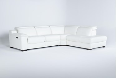"""Hana White Leather 3 Piece 113"""" Power Reclining Sectional With Right Arm Facing Chaise"""