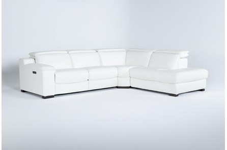 Hana White Leather 3 Piece Power Reclining Sectional With Right Arm Facing Chaise - Main