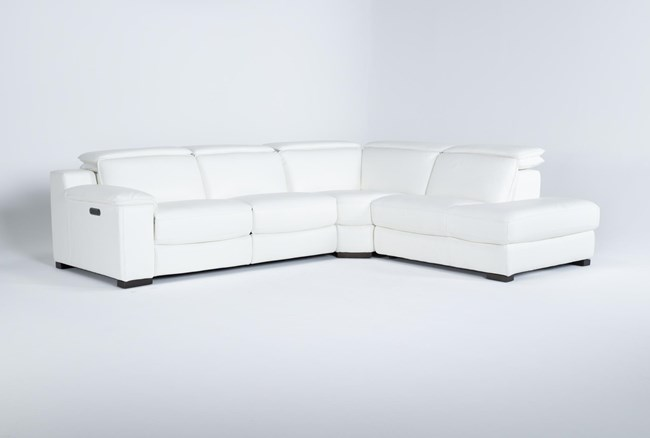 """Hana White Leather 3 Piece 113"""" Power Reclining Sectional With Right Arm Facing Chaise - 360"""