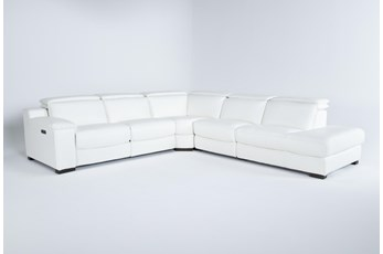 "Hana White Leather 4 Piece 113"" Power Reclining Sectional With Right Arm Facing Chaise"